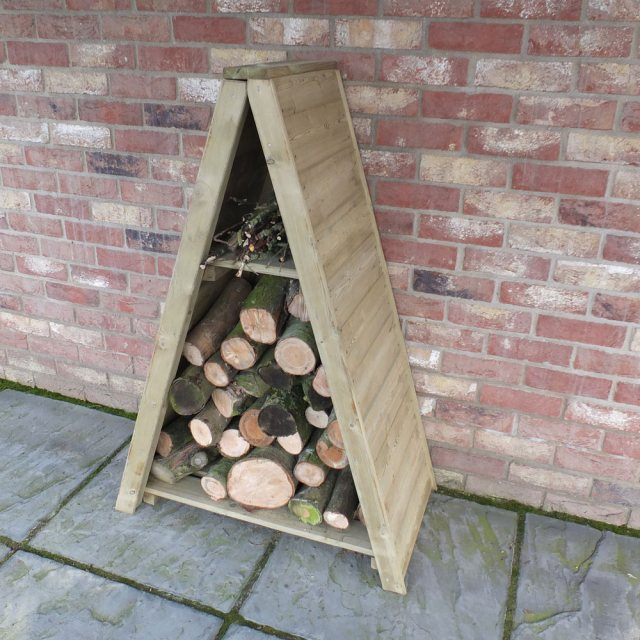 3 x 2 Shire T&G Small Triangular Log Store - Pressure Treated - angled with logs insitu