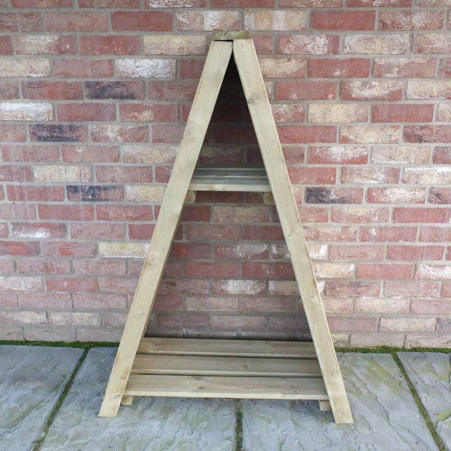 3 x 2 Shire T&G Small Triangular Log Store - Pressure Treated - front elevation without logs