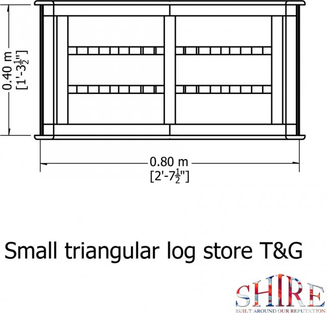 3 x 2 Shire T&G Small Triangular Log Store - Pressure Treated - floor plan