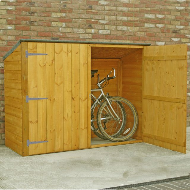 3 x 6 Shire Tongue and Groove Pent Bike Store - angled view with door open