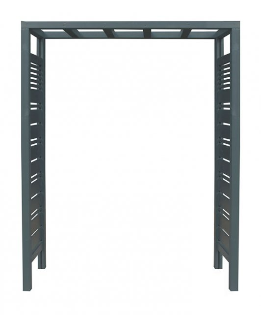Forest Slatted Pergola Arch - Anthracite Grey - isolated with front elevation