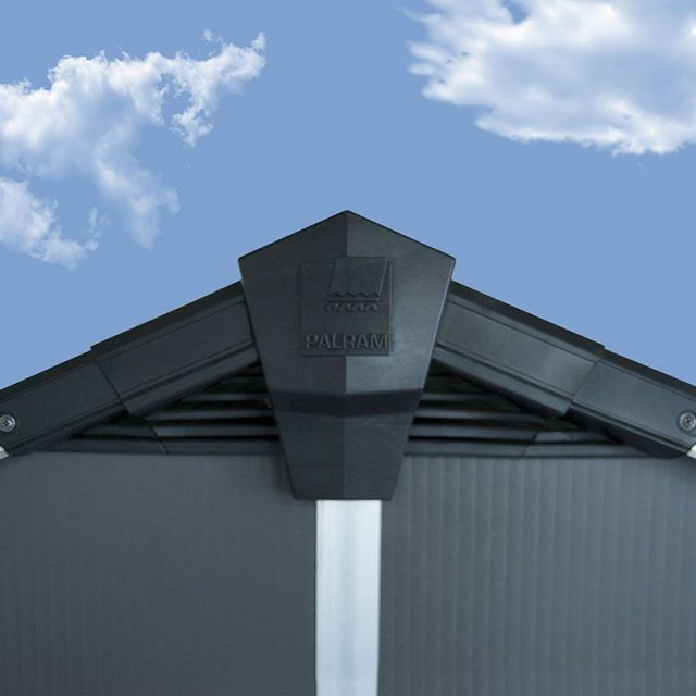 11 x 9 Palram Yukon Plastic Apex Shed - Dark Grey - pinnacle of roof