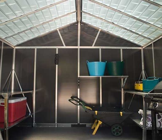 11 x 9 Palram Yukon Plastic Apex Shed - Dark Grey - translucent roof