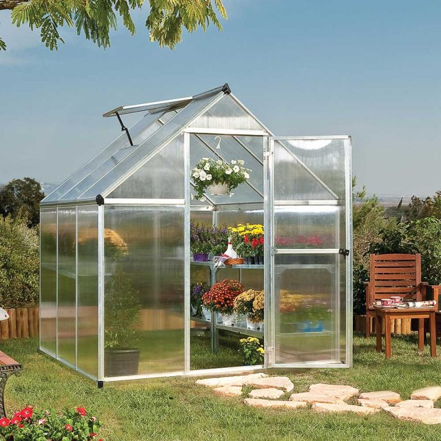 6 x 6 Palram Mythos Greenhouse in Silver