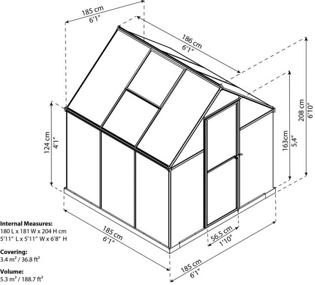 6 x 6 Palram Mythos Greenhouse in Silver - dimensions