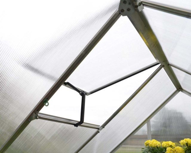 6 x 4 Palram Mythos Greenhouse in Silver - single opening roof vent