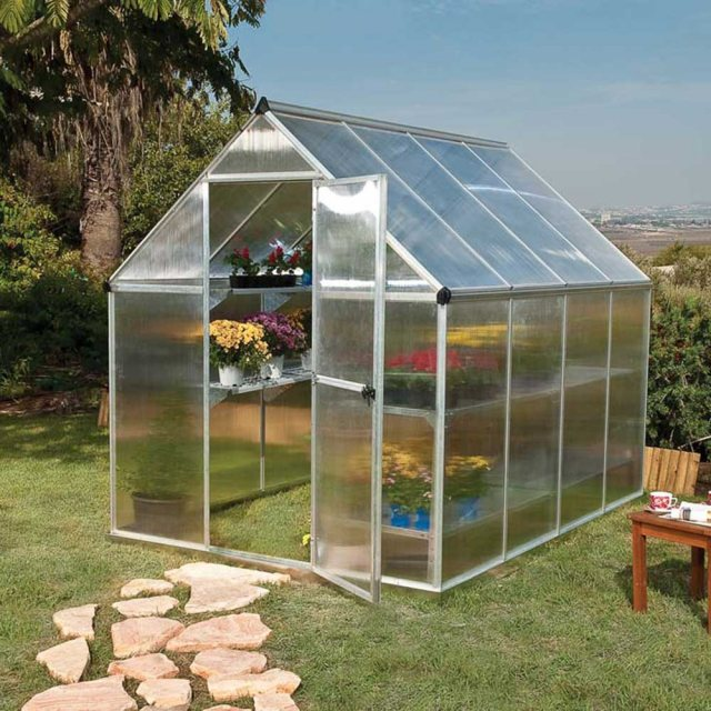 6 x 8 Palram Mythos Greenhouse in Silver
