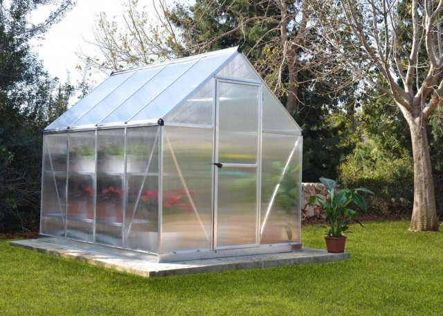 6 x 8 Palram Mythos Greenhouse in Silver - in situ