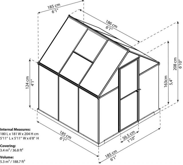 6 x 6 Palram Mythos Greenhouse in Green - dimensions