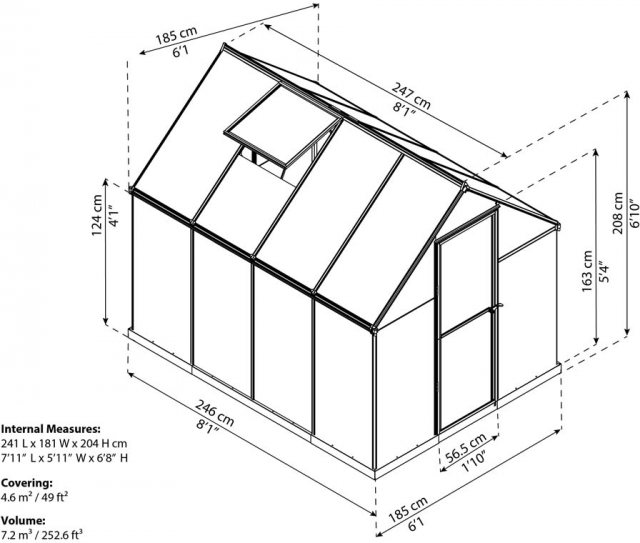 6 x 8 Palram Mythos Greenhouse in Green - dimensions