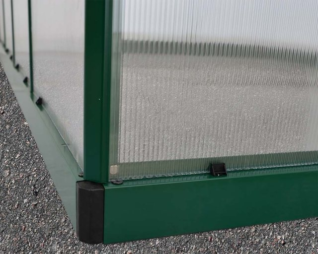 6 x 8 Palram Mythos Greenhouse in Green - galvanised steel base aids stability