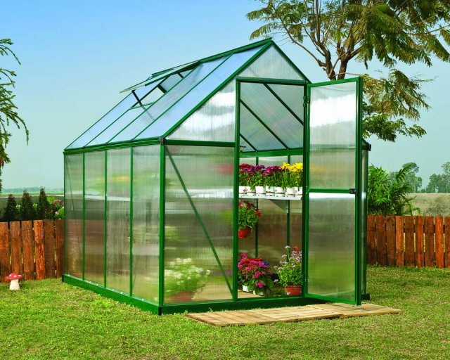 6 x 8 Palram Mythos Greenhouse in Green - in situ