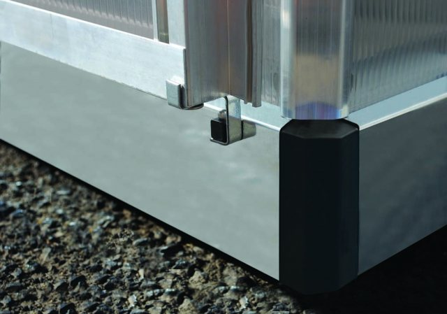 6 x 6 Palram Mythos Greenhouse in Grey - galvanised steel base aids stability (shown on silver model