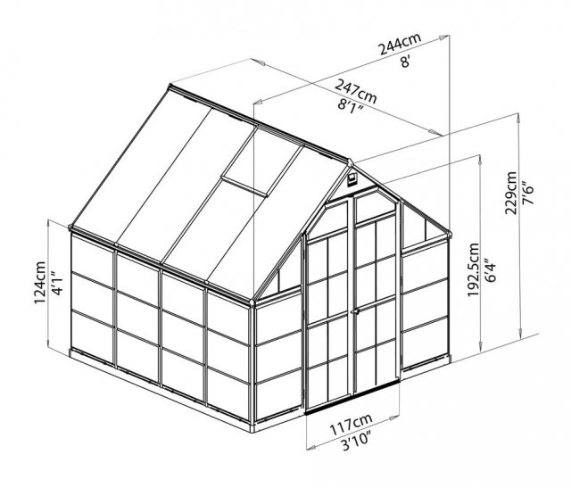 8 x 8 Palram Balance Greenhouse in Silver - dimensions