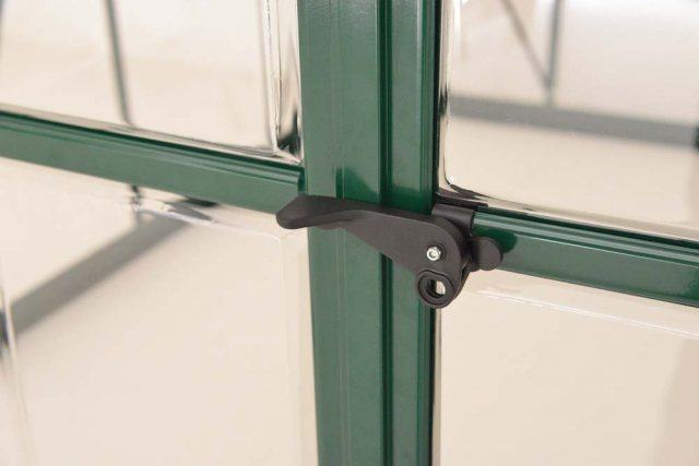 8 x 8 Palram Balance Greenhouse in Green - door handle can be locked with a padlock