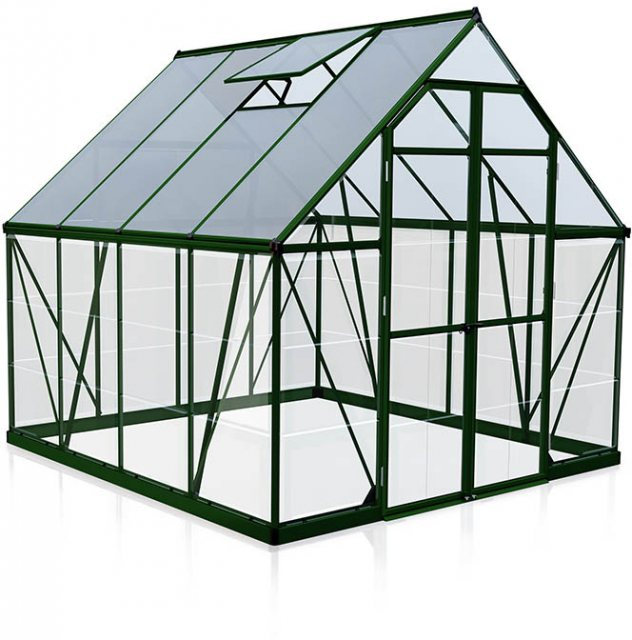 8 x 8 Palram Balance Greenhouse in Green- isolated view
