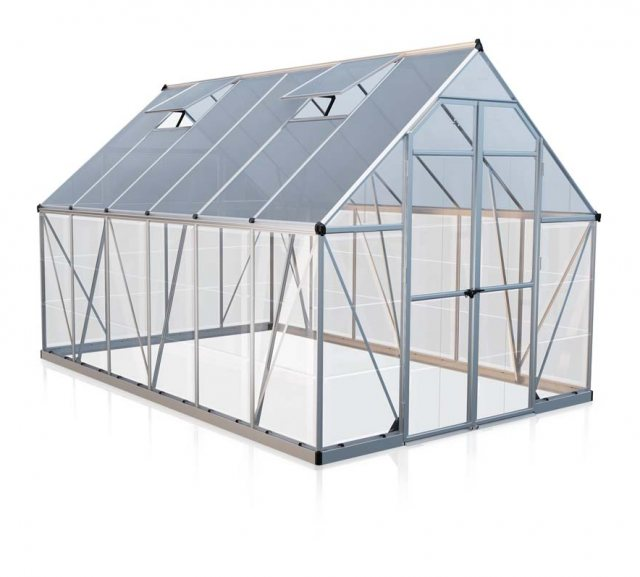 8 x 12 Palram Balance Greenhouse in Silver  - isolated view