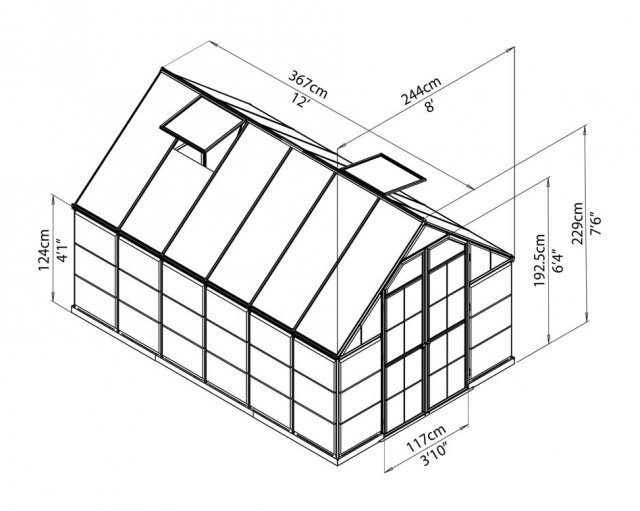 8 x 12 Palram Balance Greenhouse in Green - dimensions