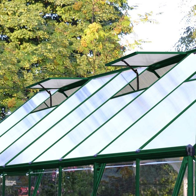 8 x 12 Palram Balance Greenhouse in Green - two manual opening roof vents