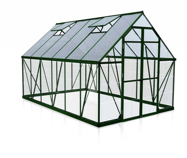 8 x 12 Palram Balance Greenhouse in Green - isolated view