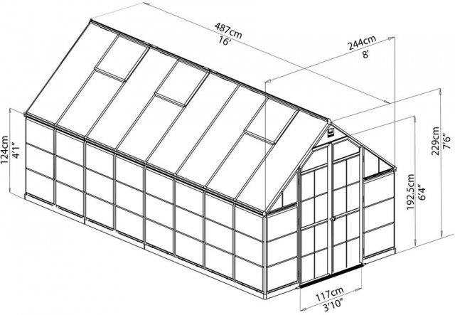 8 x 16 Palram Balance Greenhouse in Silver - dimensions