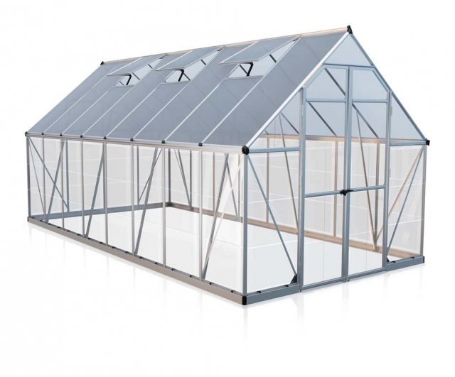 8 x 16 Palram Balance Greenhouse in Silver - isolated view