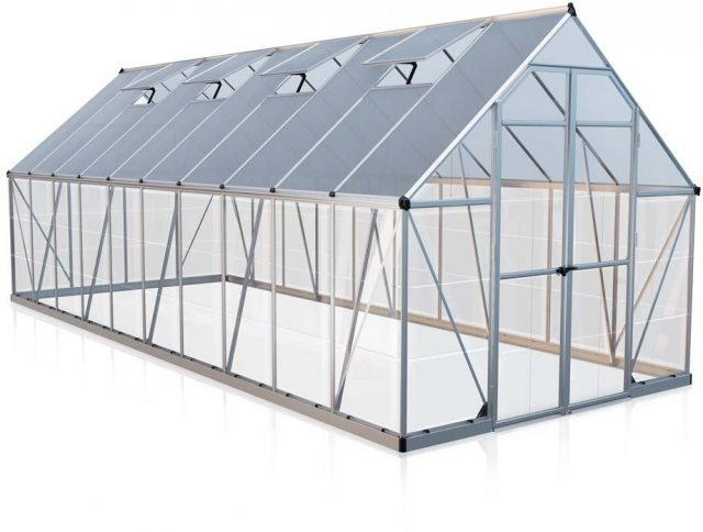 8 x 20 Palram Balance Greenhouse in Silver - isolated view