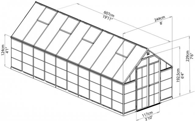 8 x 20 Palram Balance Greenhouse in Green - dimensions
