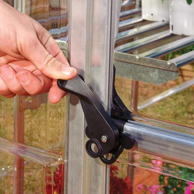 6 x 4 Palram Harmony Greenhouse in Silver - door handle can be locked with a padlock