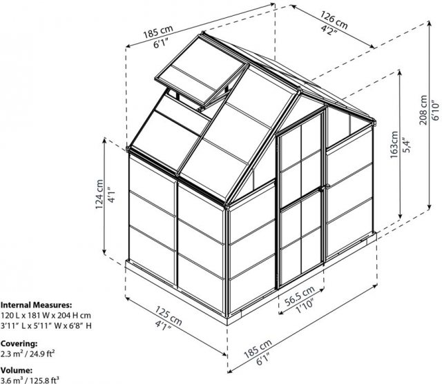 6 x 4 Palram Harmony Greenhouse in Green - dimensions