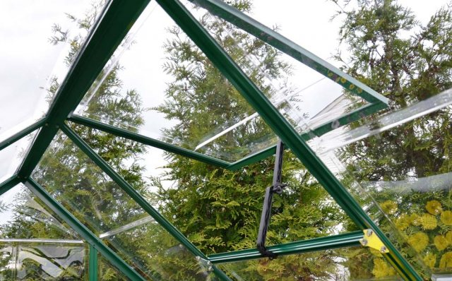 Palram Harmony Greenhouse in Green - single opening roof vent