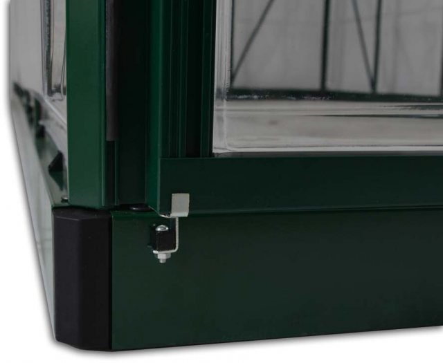 Palram Harmony Greenhouse in Green - galvanised steel base aids stability