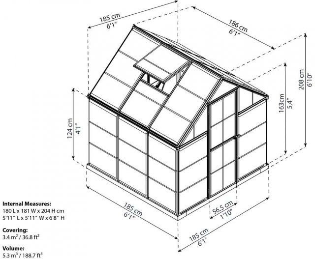 6 x 6 Palram Harmony Greenhouse in Grey - dimensions