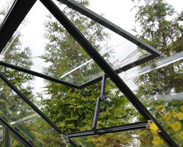 Palram Harmony Greenhouse in Grey - single opening roof vent