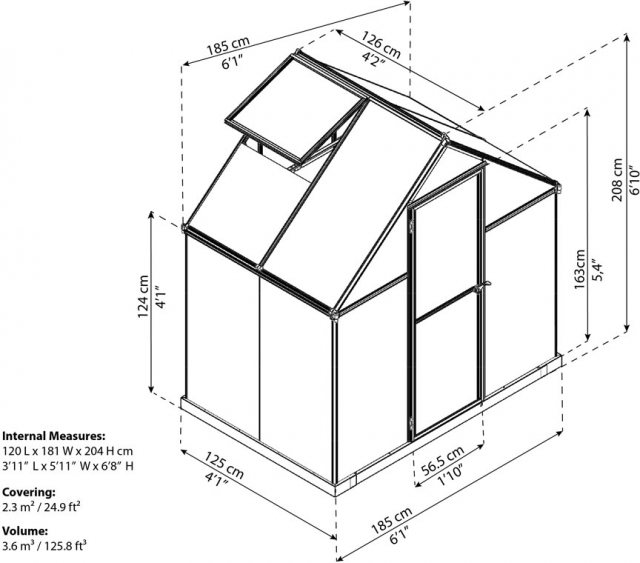 6 x 8 Palram Harmony Greenhouse in Silver - dimensions