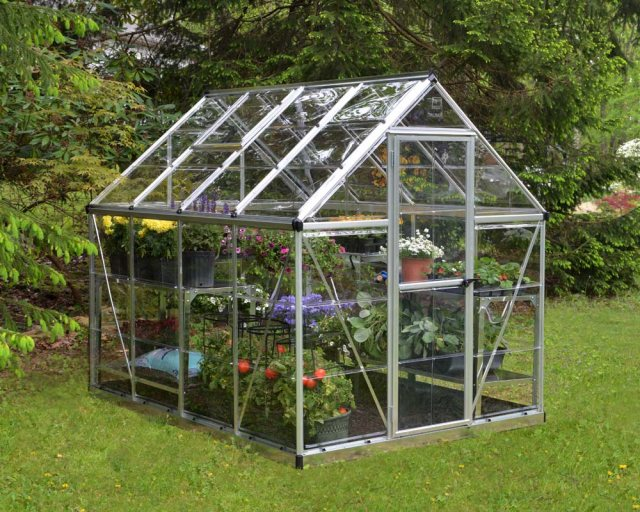 6 x 8 Palram Harmony Greenhouse in Silver - in situ