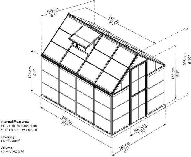 6 x 8 Palram Harmony Greenhouse in Green - dimensions