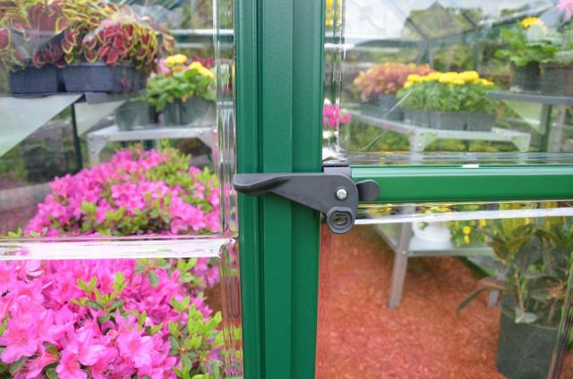 Palram Harmony Greenhouse in Green - door handle can be locked with a padlock