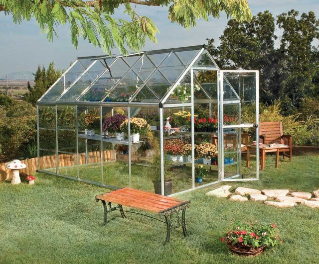 6 x 10 Palram Harmony Greenhouse in Silver - in situ