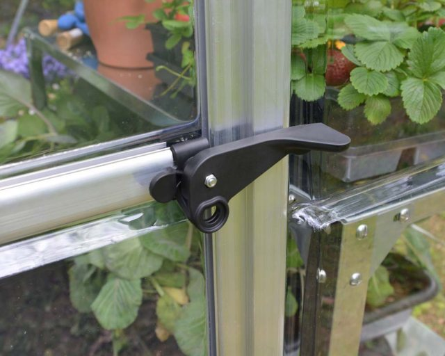 Palram Harmony Greenhouse in Silver - door handle can be locked with a padlock