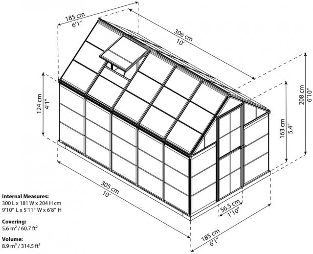 6 x 10 Palram Mythos Greenhouse in Green - dimensions