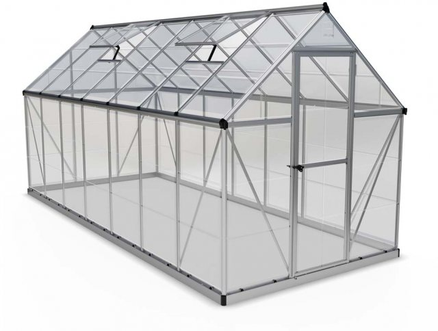 6 x 14 Palram Harmony Greenhouse in Silver - isolated view