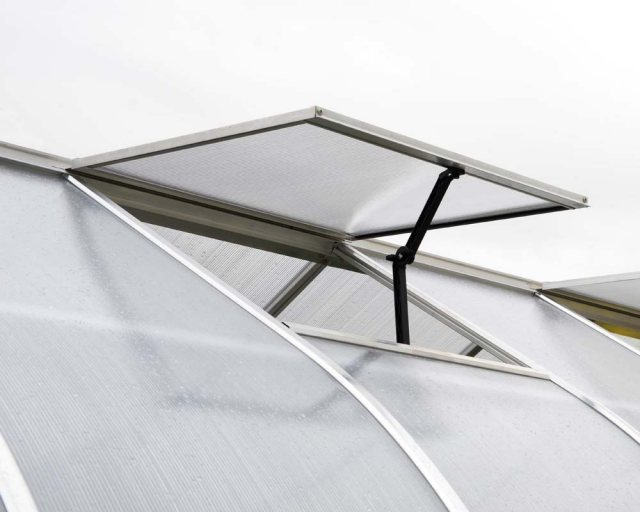 8 x 12 Palram Bella Greenhouse in Silver - single opening roof vent