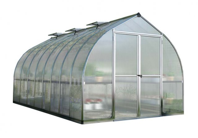 8 x 16 Palram Bella Greenhouse in Silver - isolated view