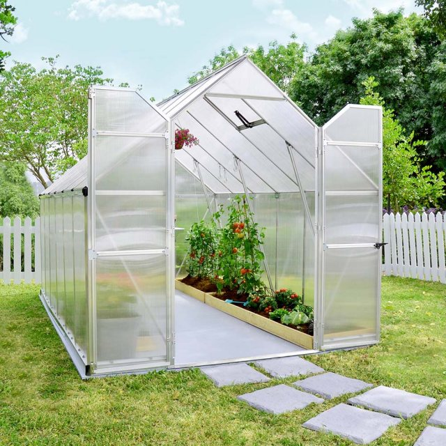 8 x 12 Palram Essence Greenhouse in Silver