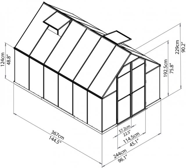 8 x 12 Palram Essence Greenhouse in Silver - dimensions
