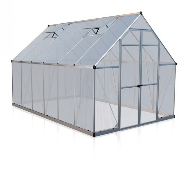 8 x 12 Palram Essence Greenhouse in Silver - isolated view