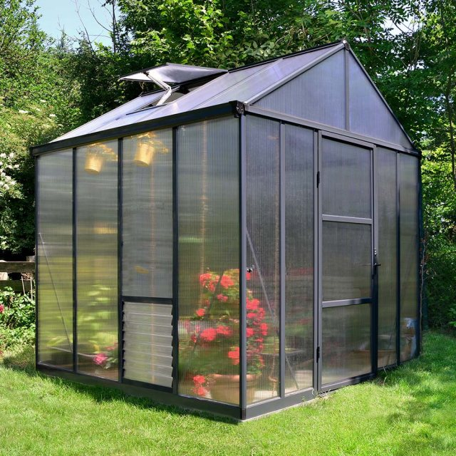 8 x 8 Palram Glory Greenhouse in Anthracite
