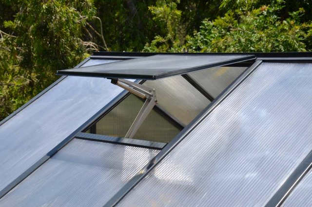 8 x 8 Palram Glory Greenhouse in Anthracite - auto opening roof vent