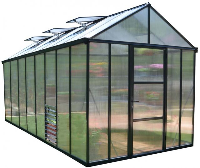 8 x 16 Palram Glory Greenhouse in Anthracite - isolated view